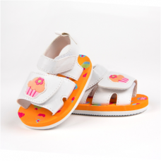 Big Oshi Baby Girl Sandal With Treadded Rubber Sole And Velcro Straps.