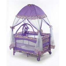 Big Oshi Portable Playard Deluxe Bundle - Nursery Center With Canopy Net Topper - Medium Size - Lightweight, Compact Design, Includes Carry Bag - Perfect for Indoor or Outdoor Backyard Use, Purple